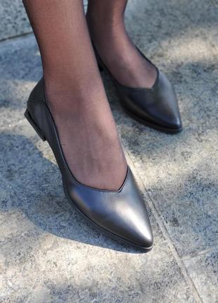 Базовые черные кожаные балетки, туфли