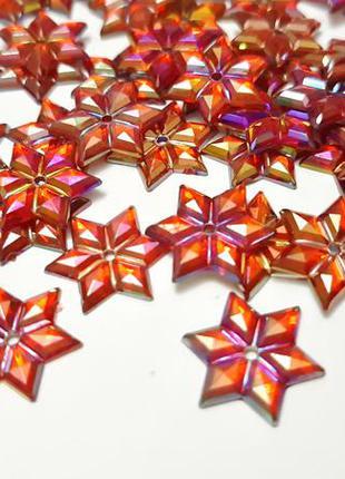 Набор стразы красные звёздочки пайетки с гранями пришивные акрил индия