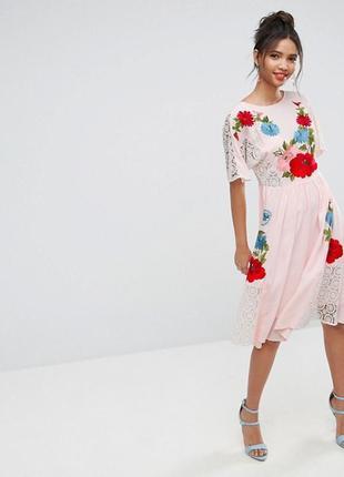 Вышитое в цветы платье asos premium! премиум качество! кружево прошва! вышивка!