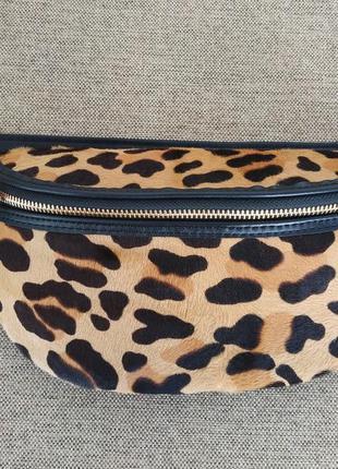Кожаная леопардовая сумка мех пони