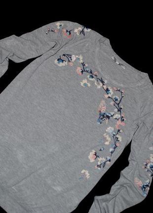 Кофта женская next свитшот свитер серый с вышивкой бренд s лонгслив