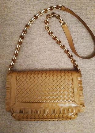 Кожаная плетёная сумка с бахромой
