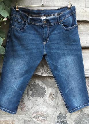 Джинсовые длинные шорты бриджи☘️большой размер