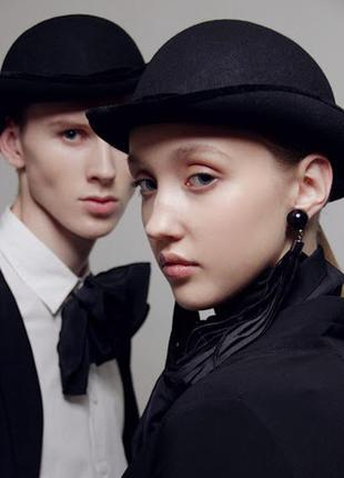 Маскарадная черная шляпа котелок фетровая унисекс + подарок