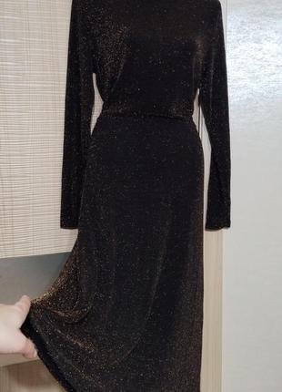 Акция 1+1=3🤑🤩 изумительное нарядное платье с люрексом золотой нитью юбка клеш