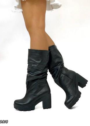 Сапоги-гармошки кожаные