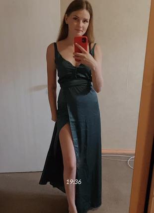 Атласное, изумрудное, длинное платье на свадьбу, выпускной..5 фото