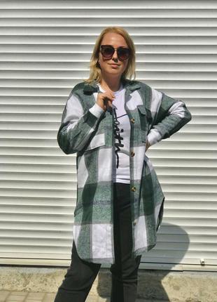 Удлинненая женская рубашка в клетку кашемировая деми