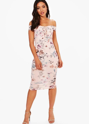Платье в цветочный принт платье на спущенные плечи платье миди