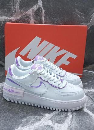 Женские кроссовки nike air force белые с фиолетовым, кожаные
