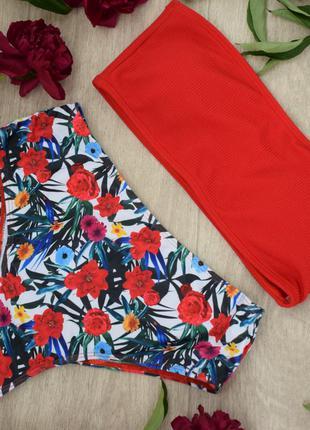 Купальник красный бандо с высокими плавками