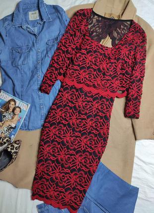 Per una платье чёрное в красный принт миди с рукавом двойное по фигуре карандаш футляр