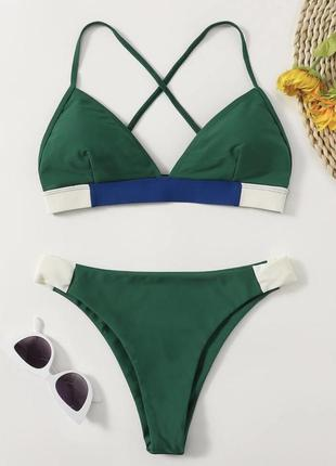 Купальник зелений, роздільний купальник, купальник женский, темно зеленый трендовый купальник.