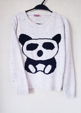 Джемпер оверсайз мишка панда меланж blush