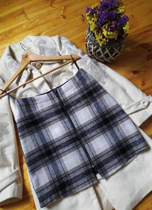 Теплая юбка на молнии, юбка в клетку, юбка осень-зима