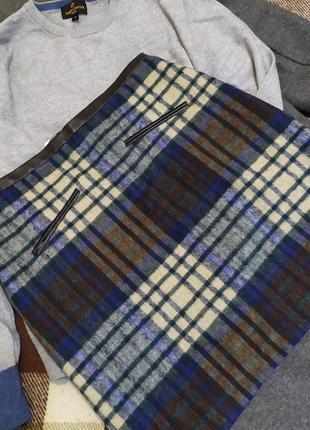 Юбка в клетку, теплая короткая юбка, осень-зима