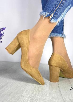 Замшевые туфли удобный каблук