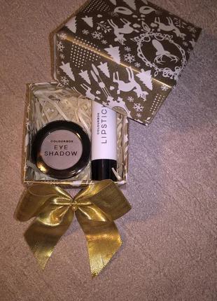 Милый и бюджетный подарочный наборчик (помада+тени+коробка)