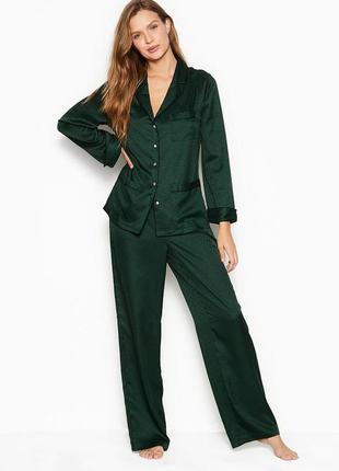 Изумрулна, сатиновая пижама, піжама victoria's secret, виктория сикрет