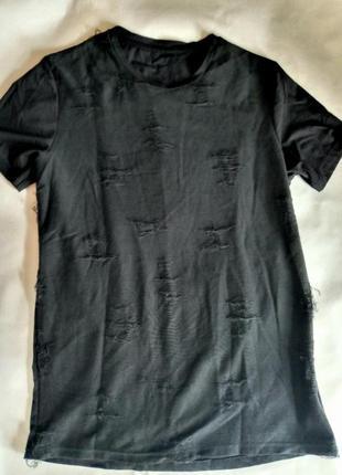 Стильная футболка рваная дыры хлопок