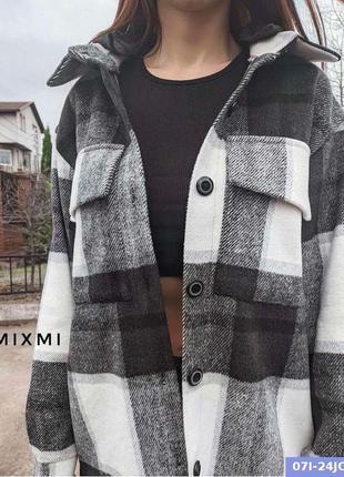 Рубашка в клетку с карманами с капюшоном тёплая плотная новая шерсть качественная