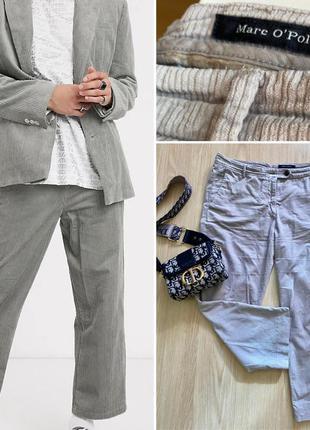 Широкие вельветовые брюки серого цвета , укорочённые женские штаны
