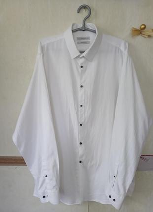 Натуральная белая фактурная рубашка р.18-46