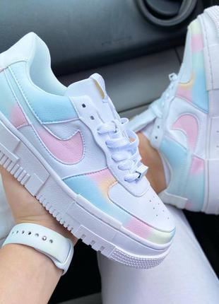 Женские белые кроссовки nike air force pixel rainbow