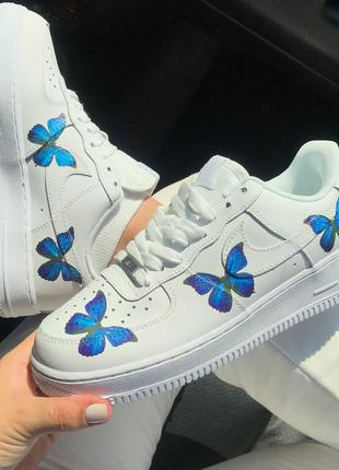 Женские белые кроссовки с бабочкой nike air force 1 low butterfly