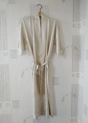 Длинный шелковый халат с карманами пыльником 100% шелк
