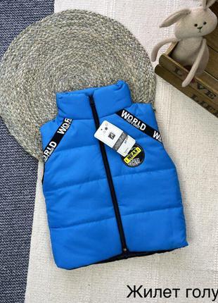 Детская жилетка голубого цвета на синтепоне для мальчиков турция