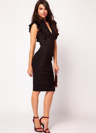 Стильное платье asos с воланами и вырезом в области декольте