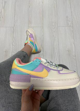 Женские кроссовки nike air force 1 shadow beige violet