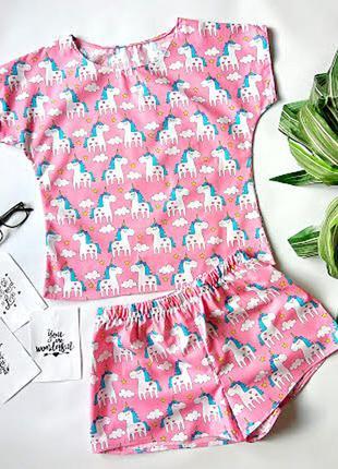 Яркая хлопковая пижама ручной работы, футболка и шорты, комплект для сна