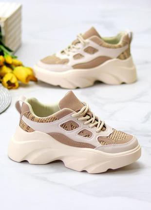 Эффектные светлые бежевые песочные женские кроссовки сникерсы   к 11640