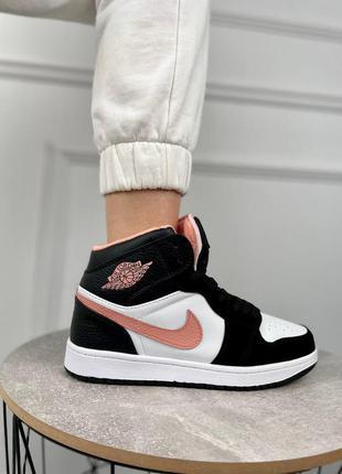 Женские кроссовки nike air jordan 1 high black/white/pink
