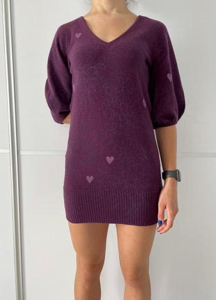 Платье женское теплое вязаное, фиолетовое теплое короткое, рукава фонарики, туника.