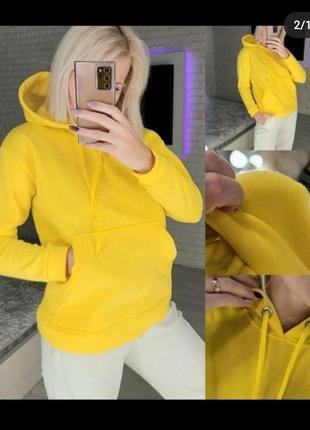 Худи кофта оверсайз с капюшоном батник худі якісне качественное стильное на флисе тепле тёплое теплое свитшот жовтий желтое жёлтое