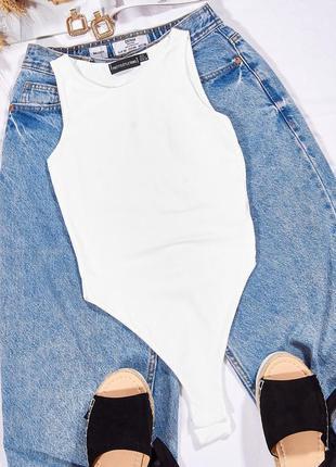 Белое боди-майка, женское боди под пиджак, базовое боди однотонное