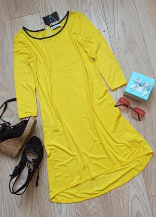 Легкое желтое платье до колена, вискоза, р.м
