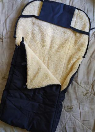 Чехол, конверт в санки или коляску на овчине зимний