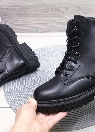 Стильные черные деми ботинки для подростков и взрослых