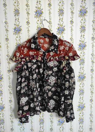 Шифоновая блуза с разрезным рукавом и рюшами