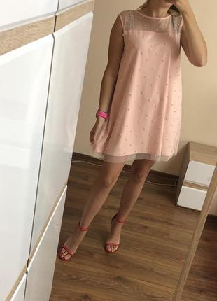 Нарядное легкое платье с бусинами / трапеция / сетка на подкладке mohito