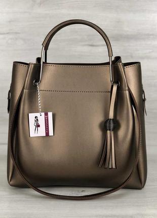Коричневая деловая сумка шоппер короткими и длинными ручками сумочка с косметичкой цвет бронза