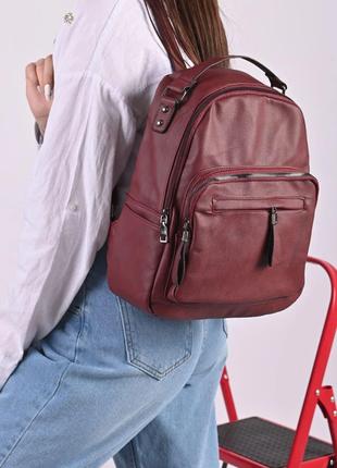 Рюкзак женский бордовый код 7-11960