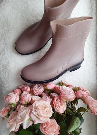 Красивые резиновые сапоги цвет орех 36-41 гумові чоботи резинові