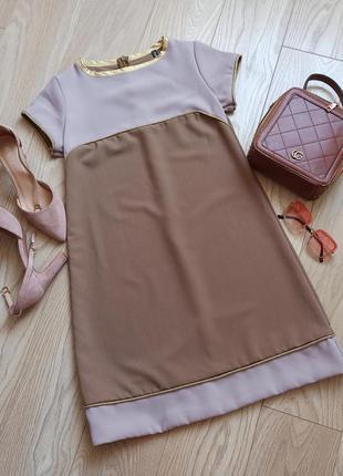 Кофейное комбинированное платье трапеция, р.м