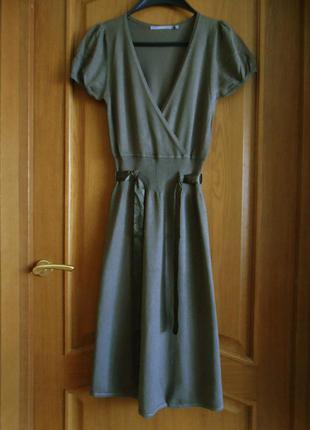 Платье винтажное inwear миди рукав фонарик трикотажное по фигуре