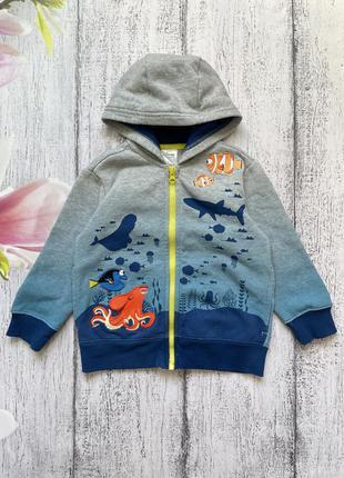 Крутая кофта свитер с капюшоном на молнии на флисе disney 3года